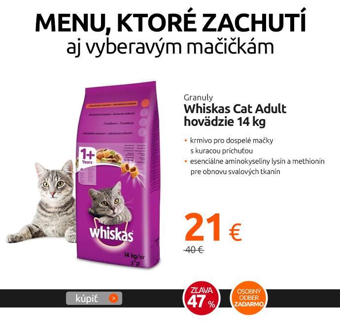 Granuly Whiskas Cat Adult hovädzie 14 kg