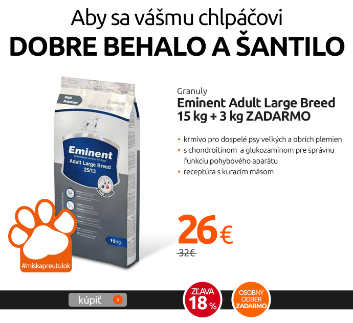 Granuly Eminent Adult Large Breed 15 kg + 3 kg ZADARMO