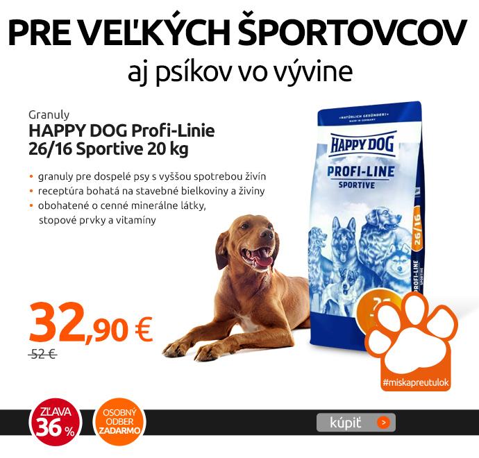 Granuly HAPPY DOG Profi-Linie 26/16 Sportive 20 kg
