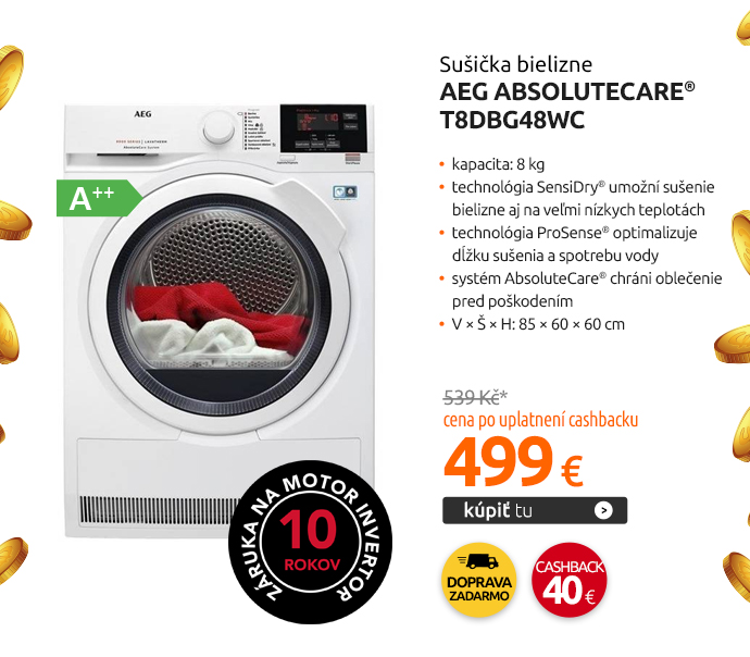Sušička bielizne AEG AbsoluteCare® T8DBG48WC