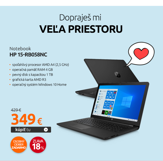 Notebook HP 15-rb058nc