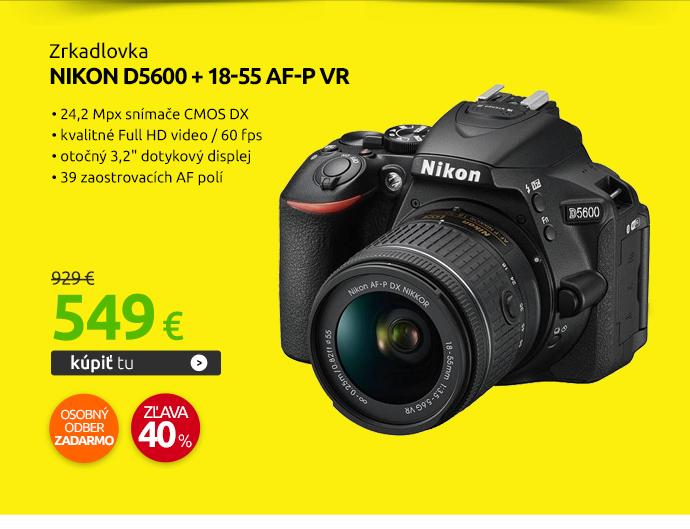 Zrkadlovka Nikon D5600 + 18-55 AF-P VR