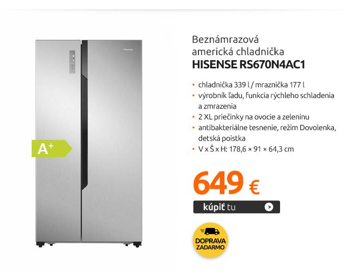 Beznámrazová americká chladnička Hisense RS670N4AC1