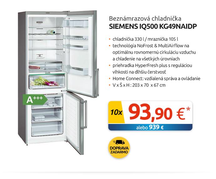 Beznámrazová chladnička Siemens iQ500 KG49NAIDP