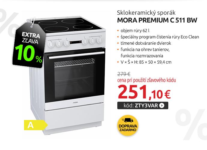 Sklokeramický sporák Mora Premium C 511 BW
