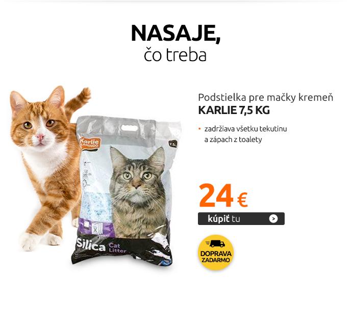 Podstielka Karlie pre mačky kremeň, 7,5 kg