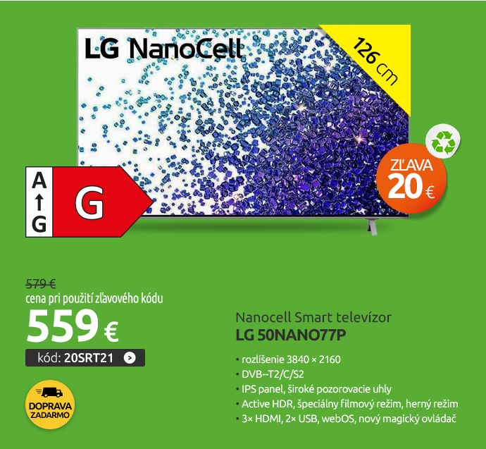 Nanocell Smart televízor LG 50NANO77P