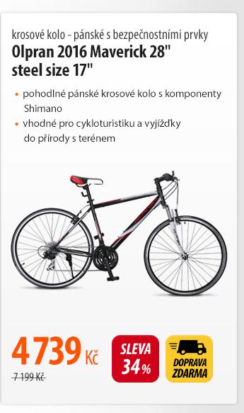 """Krosové kolo Olpran 2016 Maverick 28"""" steel size 17""""bezpečnostními prvky"""