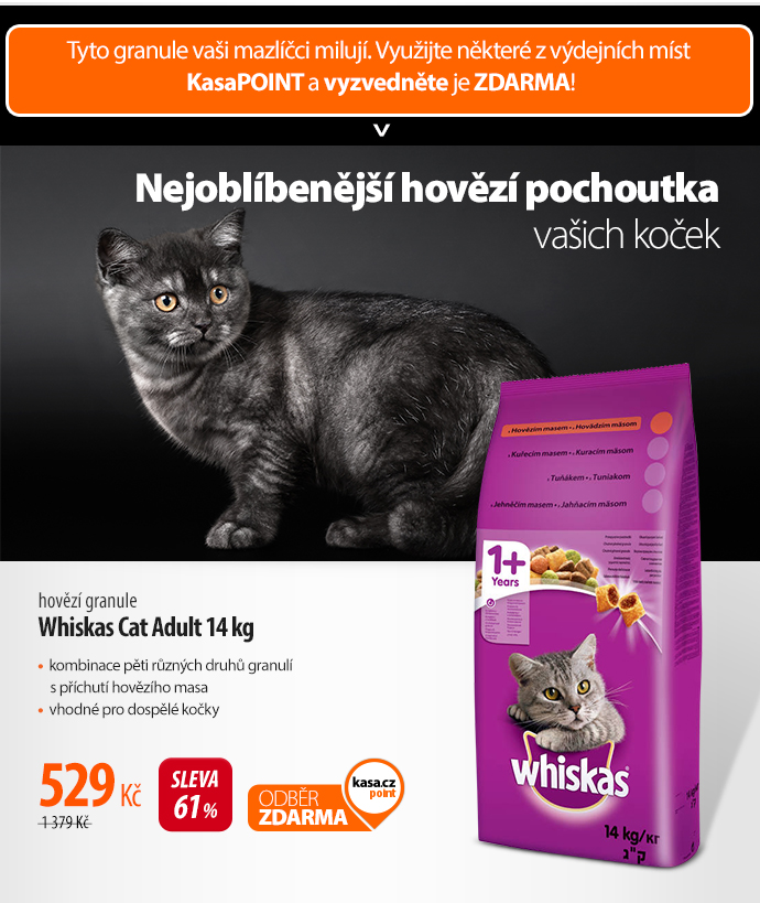 Granule Whiskas Cat Adult hovězí 14 kg
