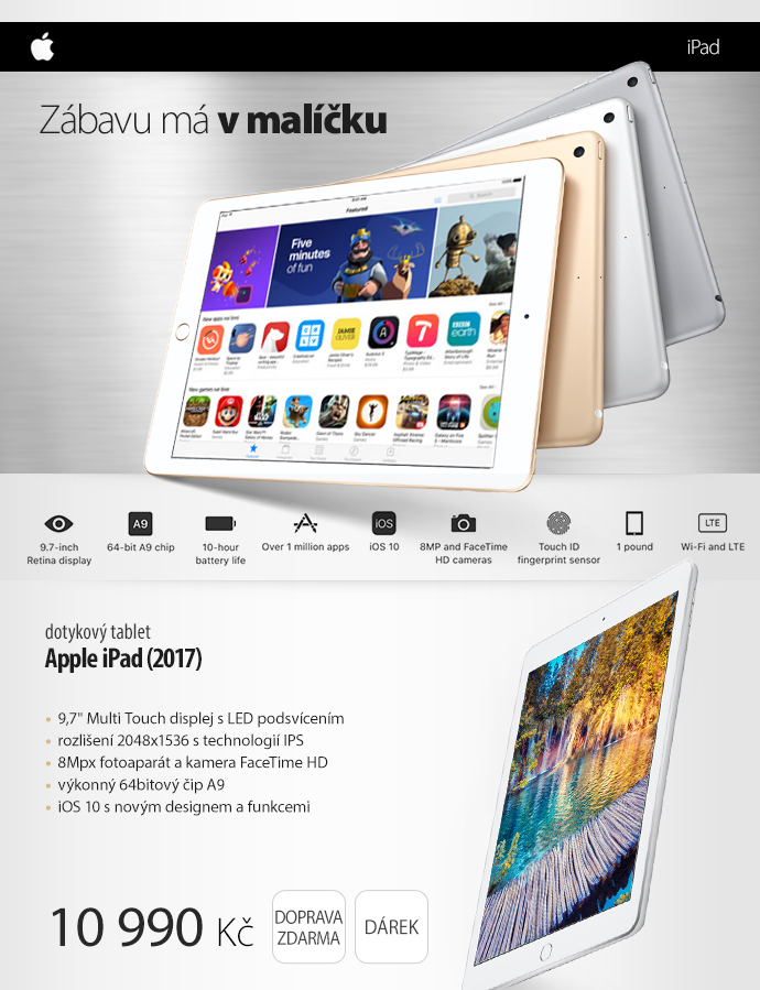 Dotykový tablet Apple iPad (2017)
