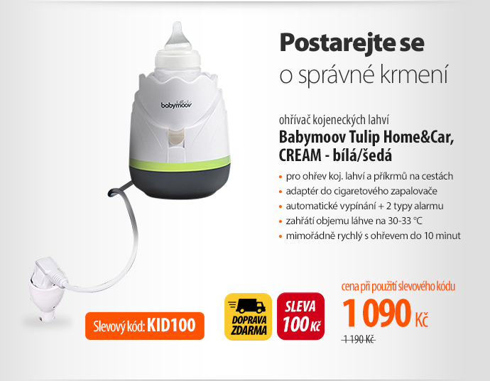 ohřívač kojeneckých lahví Babymoov Tulip Home&Car, CREAM - bílá/šedá