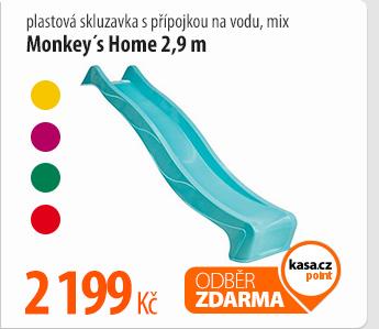 Skluzavka Monkey´s Home plastová 2,9m s přípojkou na vodu,mix
