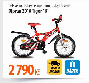"""Dětské kolo Olpran 2016 Tiger 16"""" s bezpečnostními prvky červené"""