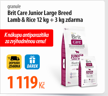 Granule Brit Care Junior Large Breed Lamb & Rice 12 kg + 3 kg zdarma