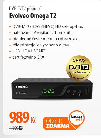 DVB-T/T2 přijímač Evolveo Omega T2