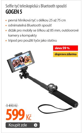Selfie tyč GoGEN 5 teleskopická s Bluetooth spouští