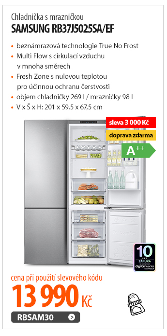 Chladnička s mrazničkou Samsung RB37J5025SA/EF