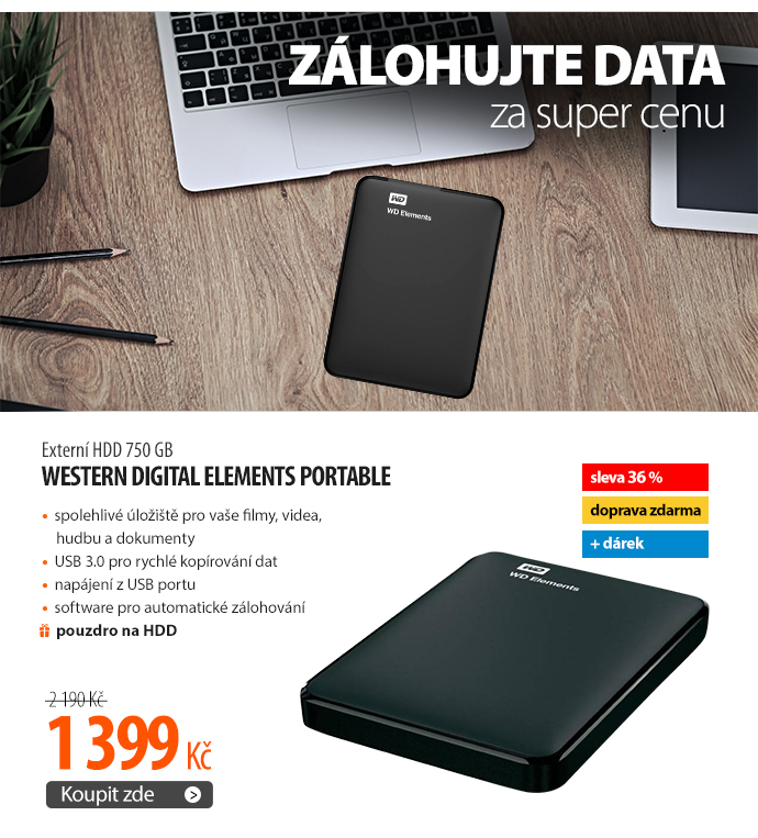 Externí HDD Western Digital Elements Portable 750GB