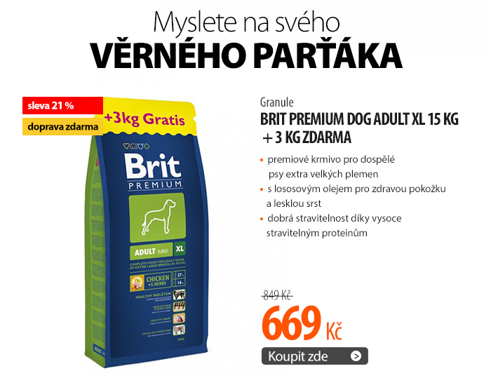 Granule Brit Premium Dog Adult XL 15 kg + 3 kg ZDARMA