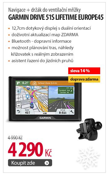 Navigace Garmin Drive 51S Lifetime Europe45 + držák do ventilační mřížky