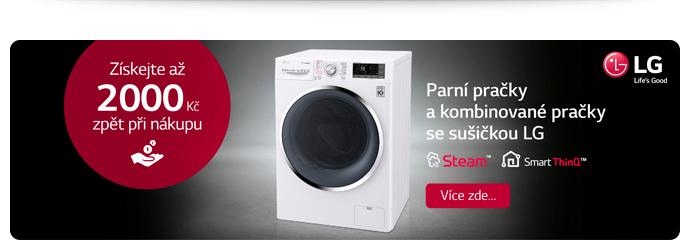 Cashback až 2 000 na pračky a pračky se sušičkou LG