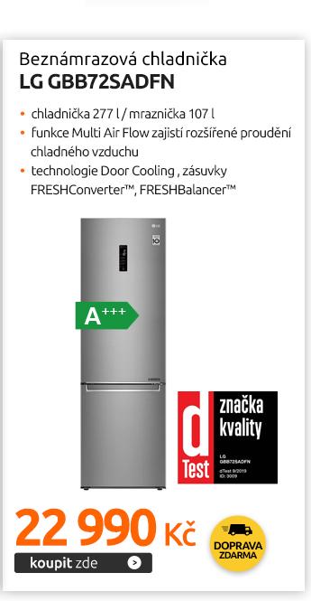 Beznámrazová chladnička LG GBB72SADFN